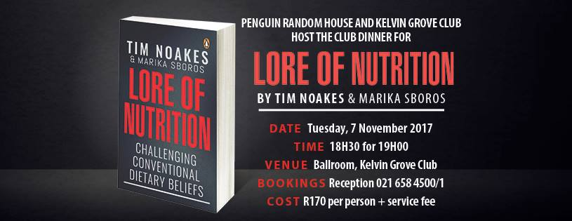 Tim Noakes's new book Lore of Nutrition to be launched in Cape Town